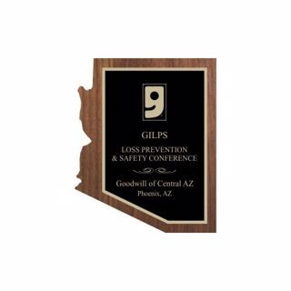 """Solid Walnut Arizona Shaped Plaque 6"""" x 8"""" 