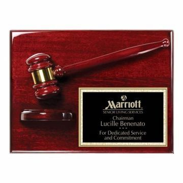 "Rosewood Finish Gavel Plaque 9"" x 12"" 