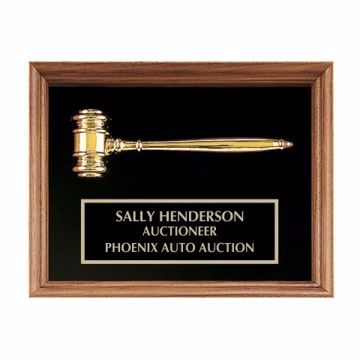 "Framed Gold Gavel Plaque 10"" x 13"" 