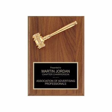 "Mini Gold Gavel Plaque 5"" x 7"" 