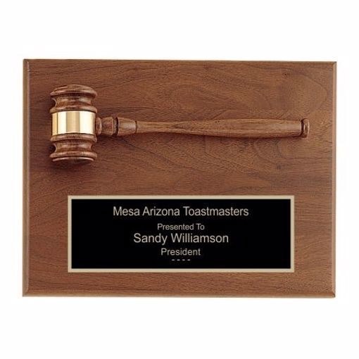 """Solid Walnut Gavel Plaque 9"""" x 12"""" 