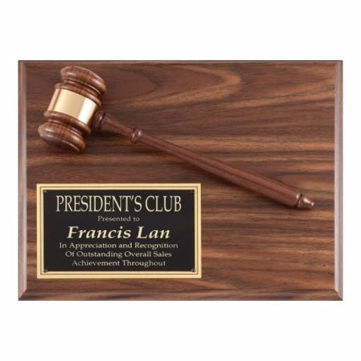 """Value Gavel Plaque 9"""" x 12"""" 