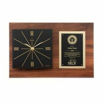 "Raised Face Horizontal Walnut Wall Clock 18"" x 12"" 