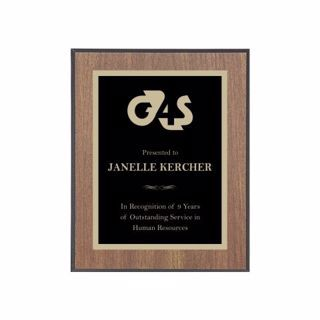 "Value Walnut Plaque Black Edge 7"" x 9"" 