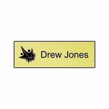 1x3 Euro Gold Black Name Tag