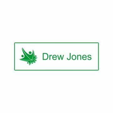 1x3 White Green Name Tag