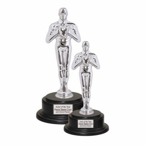 Silver Male Achievement Trophy On Walnut Base | 2 Sizes Available | Engraving Included