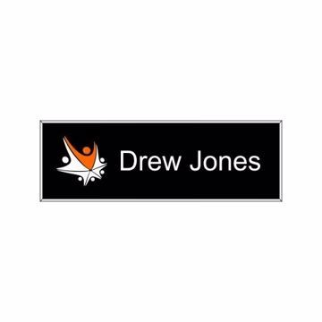 1 x 3 Name Tag Black Engraves White | Full Color Imprint