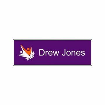 1 x 3 Name Tag Purple Engraves White | Full Color Imprint