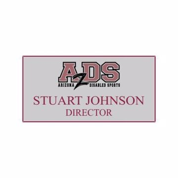 1.5 x 3 Name Tag Gray Engraves Maroon | Full Color Imprint