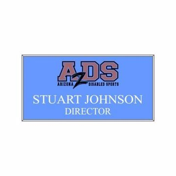 1.5 x 3 Name Tag Light Blue Engraves White | Full Color Imprint