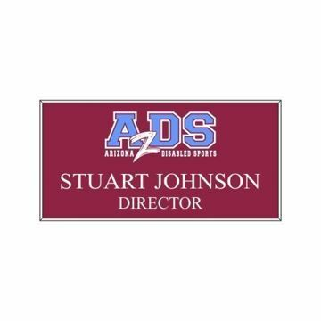 1.5 x 3 Name Tag Maroon Engraves White | Full Color Imprint