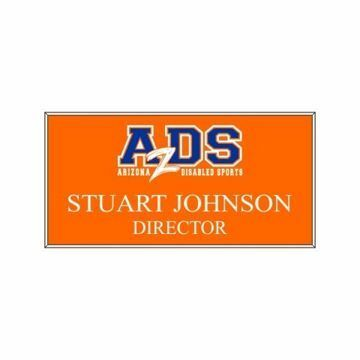 1.5 x 3 Name Tag Orange Engraves White | Full Color Imprint