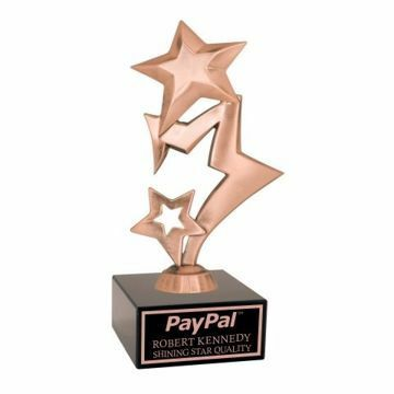 Bronze Rising Star Trophy Black Marble Base | Engraving Included