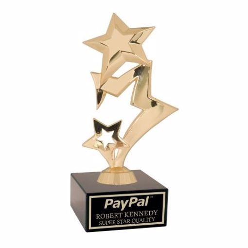 Gold Rising Star Trophy On Black Marble Base | Engraving Included