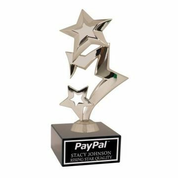 Silver Rising Star Trophy On Black Marble Base | Engraving Included