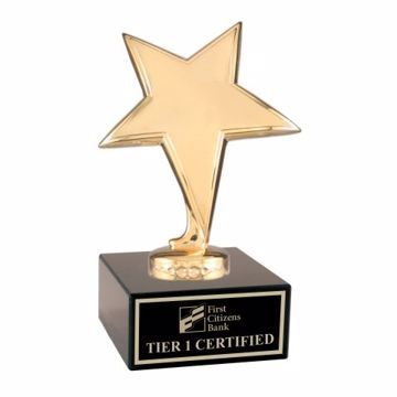 Gold Star Trophy On Black Marble Base | Engraving Included