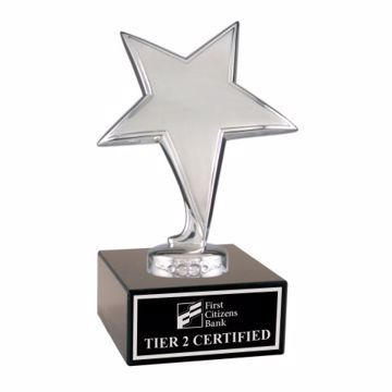 Silver Star Trophy On Black Marble Base | Engraving Included