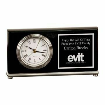 Piano Finish Black Award Clock Brass Base | Engraving Included