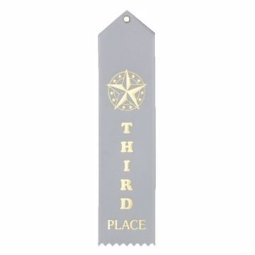 3rd Place Card & String Ribbon   White