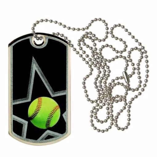 Black Softball Dog Tag | Engraving Included