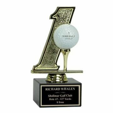 Hole In One Trophy On Black Marble Base | Engraving Included