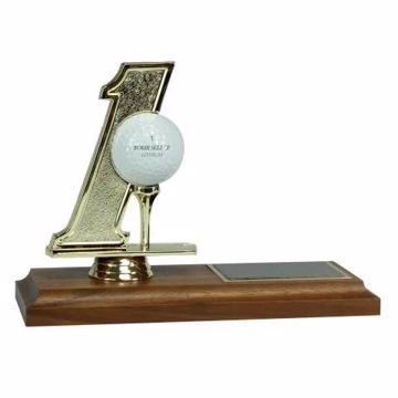 Hole In One Trophy Solid Walnut Base | Engraving Included