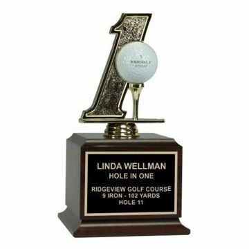 Hole In One Trophy Wood Base | Engraving Included