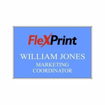 2 x 3 Name Tag Light Blue Engraves White | Full Color Imprint
