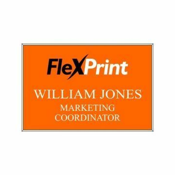 2 x 3 Name Tag Orange Engraves White | Full Color Imprint