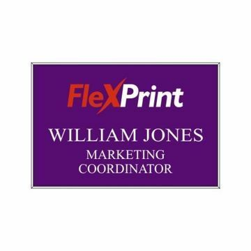 2 x 3 Name Tag Purple Engraves White | Full Color Imprint