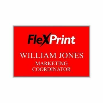 2 x 3 Name Tag Red Engraves White | Full Color Imprint