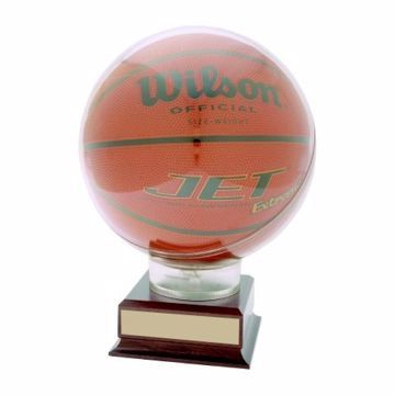 Basketball Holder On Wood Base | Engraving Included