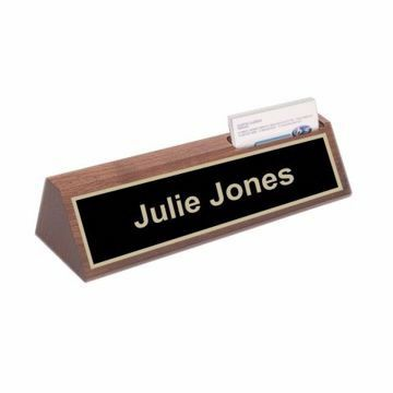 Walnut Card Holder Nameplate | Engraving Included