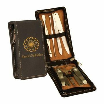 Black Leatherette Manicure Set | Engraving Included
