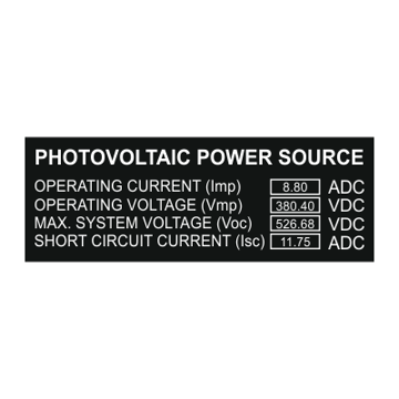 Photovoltaic Power Source Values Added Solar Label