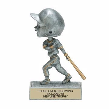 Male Baseball Bobble Trophy | Engraving Included