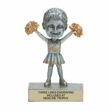 Female Cheerleader Bobble Trophy | Engraving Included