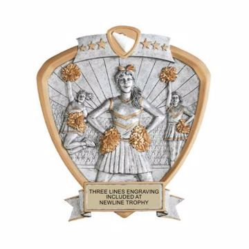 Shield Female Cheerleader Award | Engraving Included