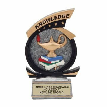 Gold Star Resin Knowledge Trophy | Engraving Included
