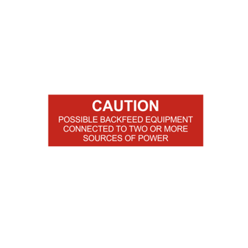 Caution Possible Backfeed Equipment Solar Tag