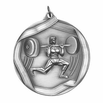 "MS666 2 1/4"" Die Cast Weight Lifter Female Medallion 