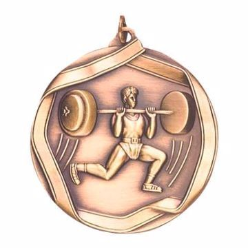 "MS664 2 1/4"" Die Cast Weightlifting Medallion 