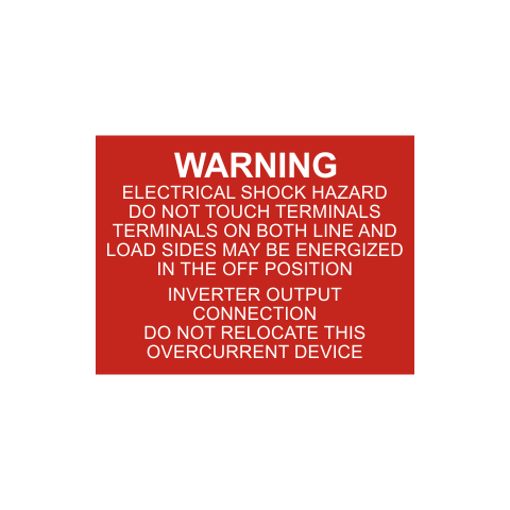 Warning Electrical Shock Hazard Do Not Touch Terminals Solar Tag