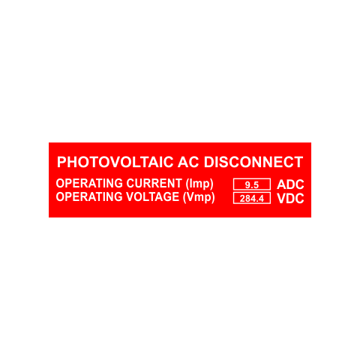 Photovoltaic AC Disconnect With Values | Engraving Included