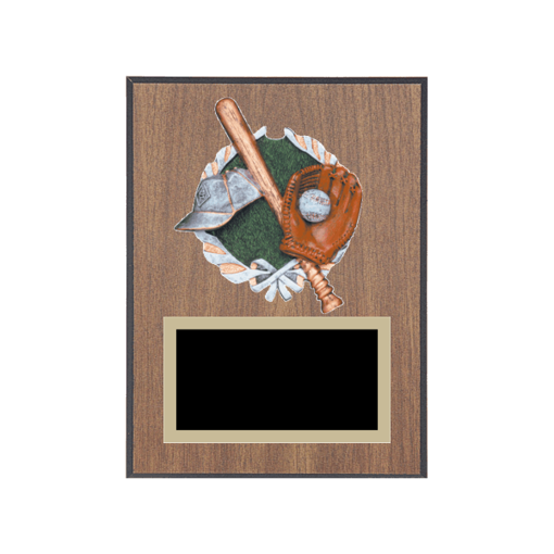 """6"""" x 8"""" Baseball Plaque with gold background plate, colored engraving plate and full color 3D resin Baseball medallion."""