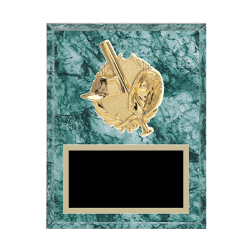 "7"" x 9"" Baseball Plaque with gold background plate, colored engraving plate and gold 3D Baseball medallion."