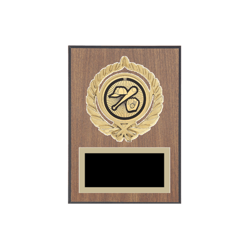 """5"""" x 7"""" Baseball Plaque with gold background plate, colored engraving plate, gold open wreath medallion holder and Baseball insert."""