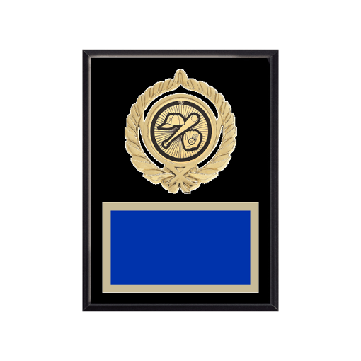 """6"""" x 8"""" Baseball Plaque with gold background plate, colored engraving plate, gold open wreath medallion holder and Baseball insert."""