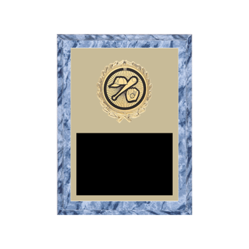 "6"" x 8"" Baseball Plaque with gold background plate, colored engraving plate, gold wreath medallion and Baseball insert."